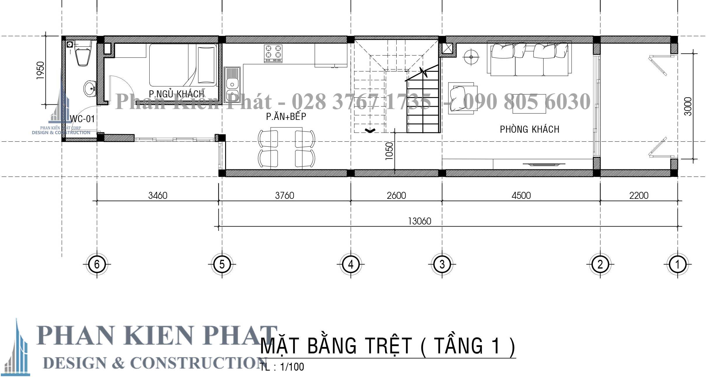 Bo Tri Mat Bang Tang 1 nhà phố 3 tầng tân cổ điển