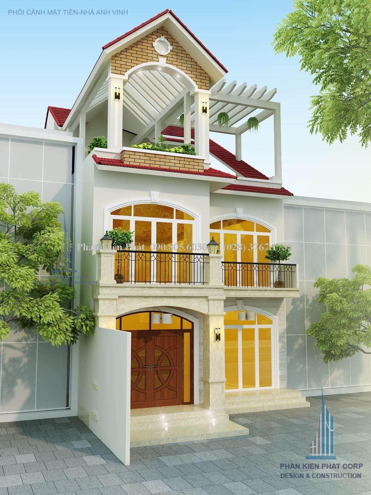 Thiet Ke Nha Pho 1 Tret Lau Mai Chu A Dep Mat View 2