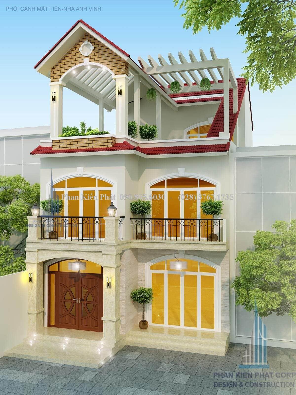 Thiet Ke Nha Pho 1 Tret Lau Mai Chu A Dep