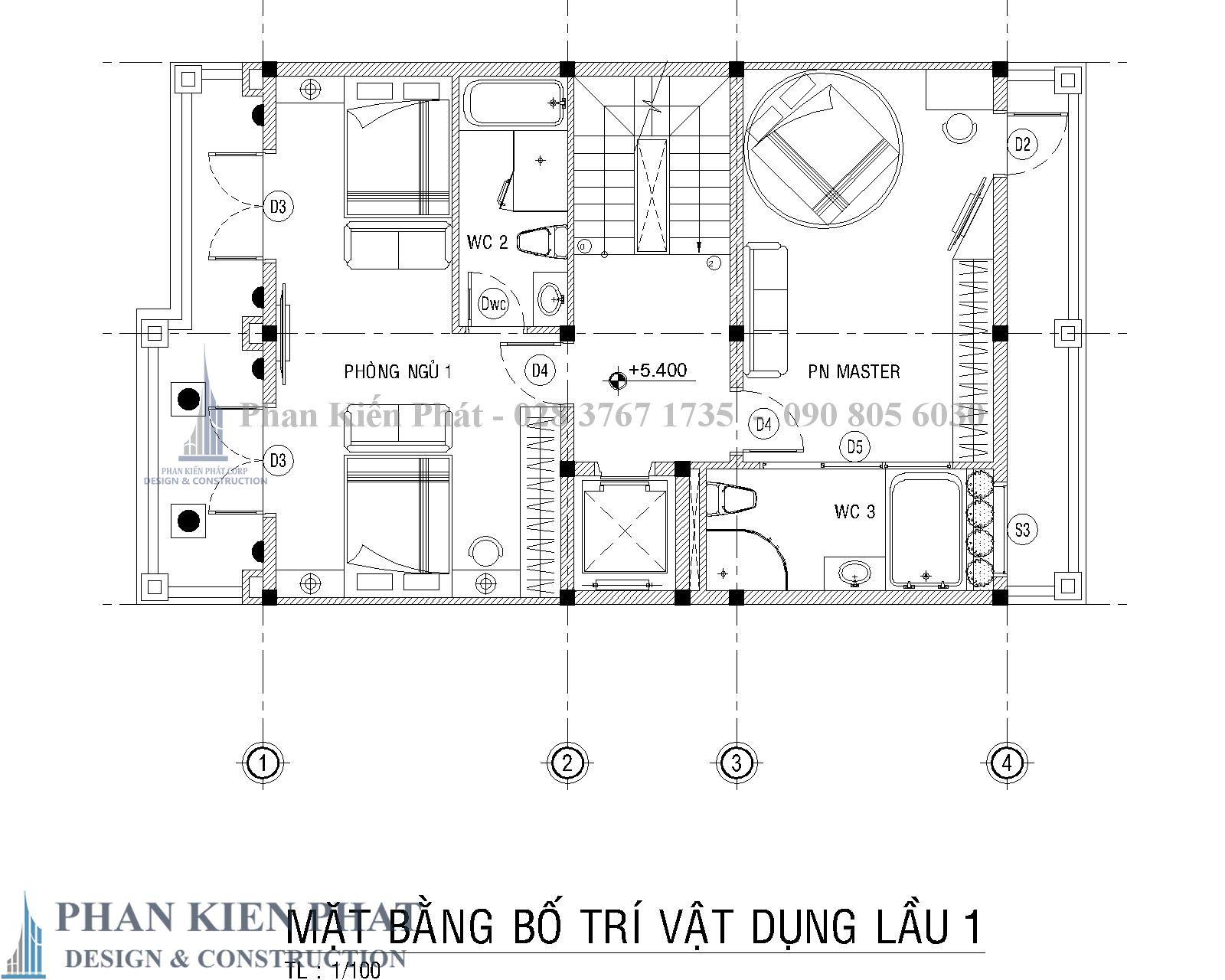 Mat Bang Bo Tri Vat Dung Lau 1 Biet Thu Co Dien - Thiết kế biệt thự cổ điển