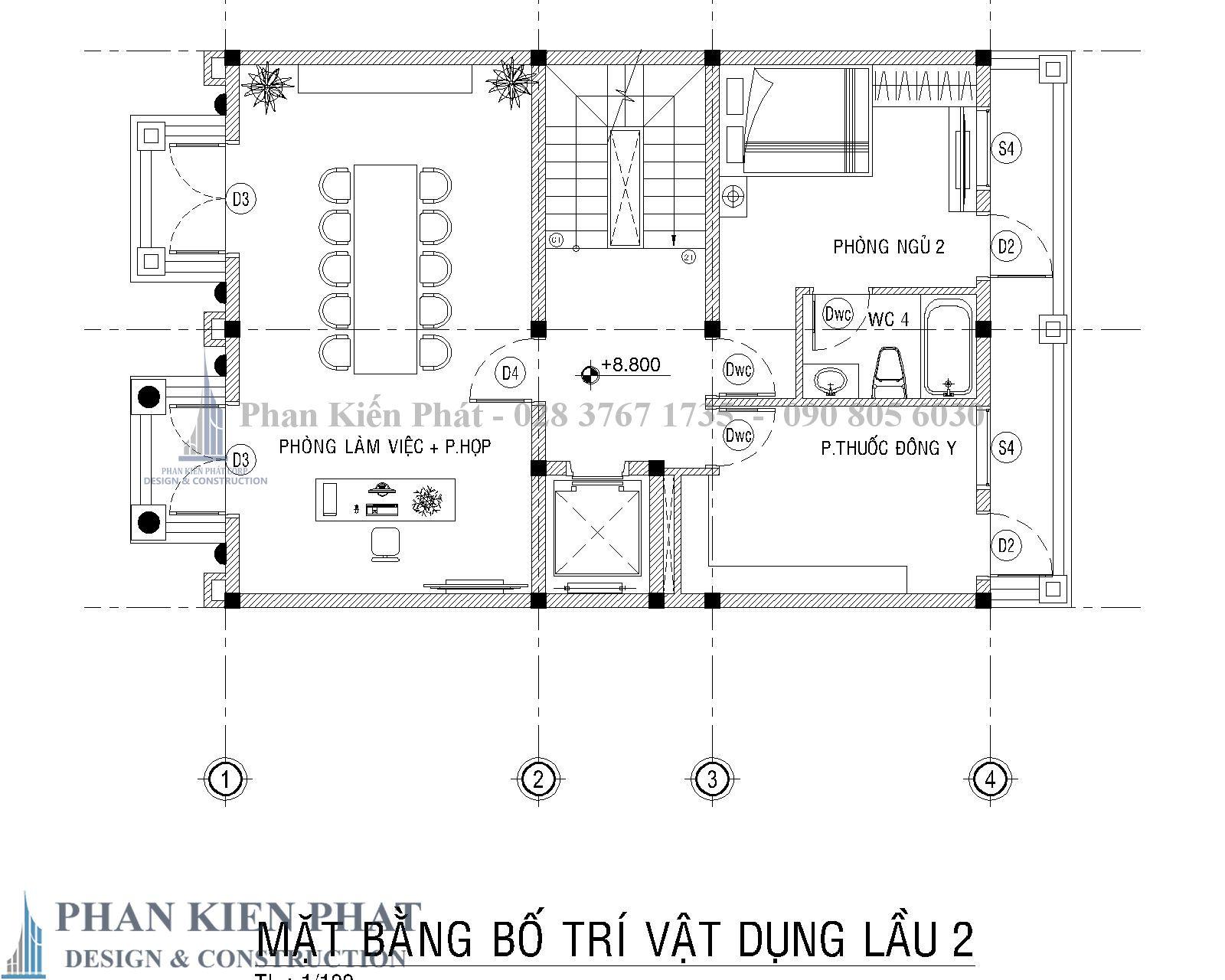 Mat Bang Bo Tri Vat Dung Lau 2 Biet Thu Co Dien - Thiết kế biệt thự cổ điển