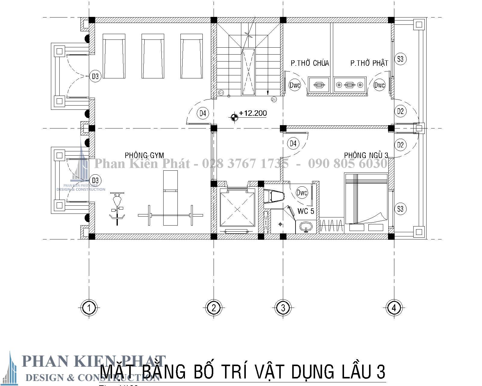 Mat Bang Bo Tri Vat Dung Lau 3 Biet Thu Co Dien - Thiết kế biệt thự cổ điển