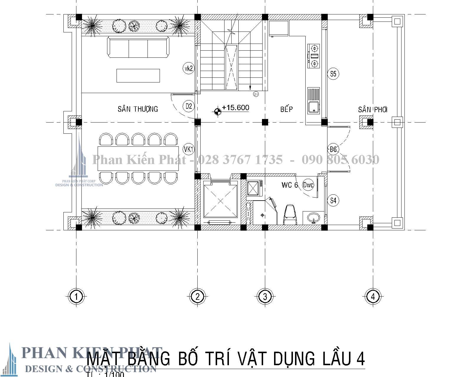 Mat Bang Bo Tri Vat Dung Lau 4 Biet Thu Co Dien - Thiết kế biệt thự cổ điển
