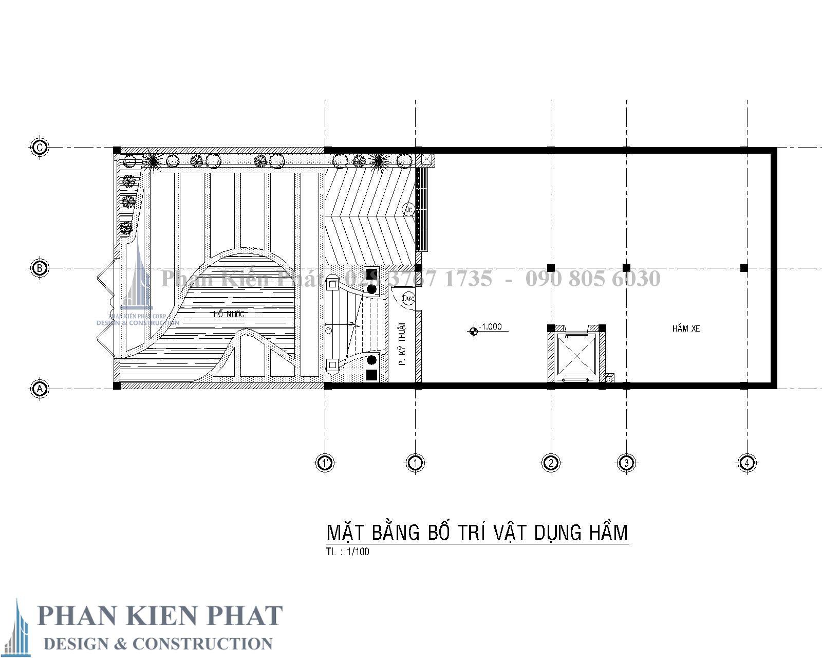 Mat Bang Bo Tri Vat Dung Tang Ham Biet Thu Co Dien - Thiết kế biệt thự cổ điển