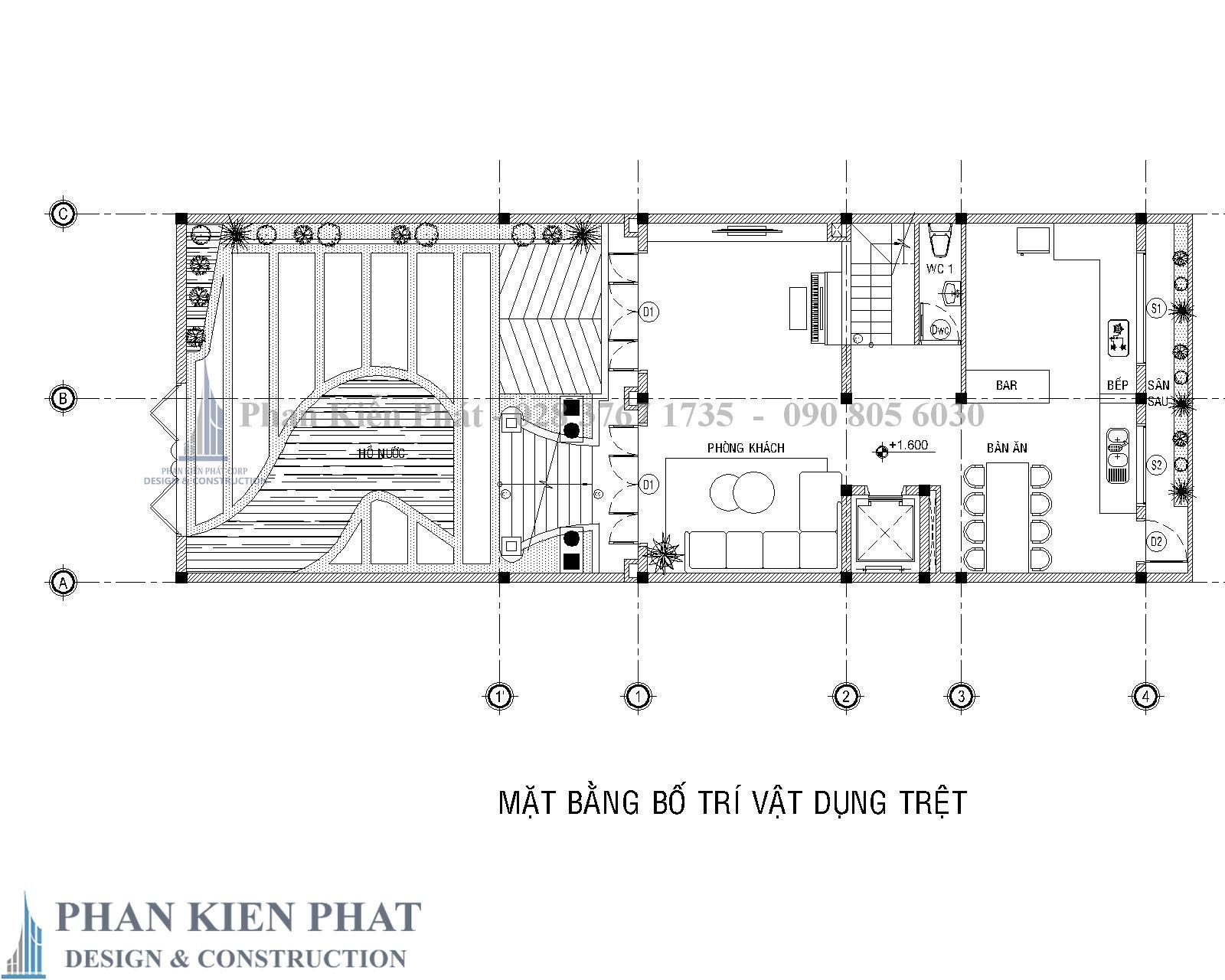 Mat Bang Bo Tri Vat Dung Tang Tret Biet Thu Co Dien - Thiết kế biệt thự cổ điển