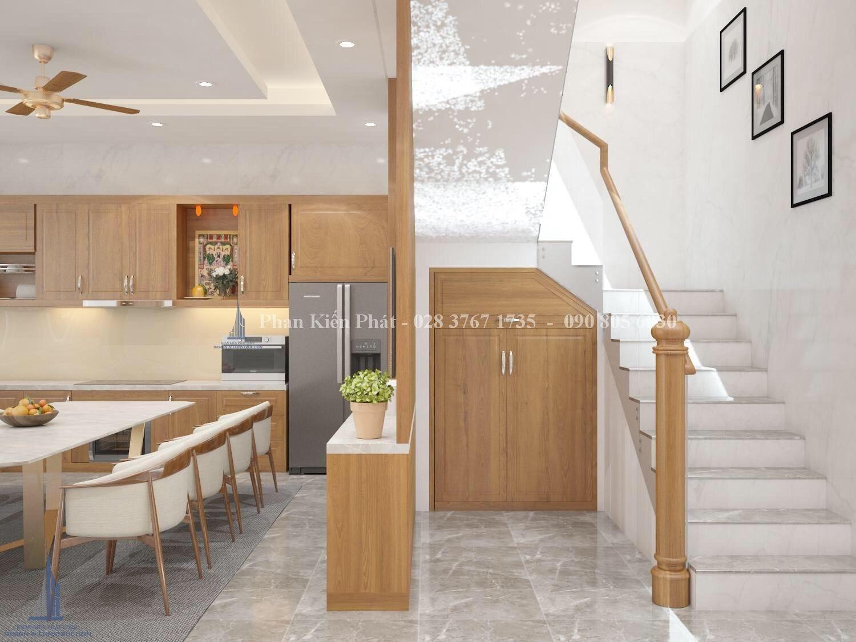 Cầu thang ngăn các không gian - mẫu thiết kế biệt thự 3 tầng