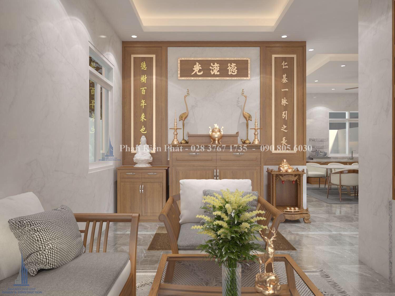 Thiet Ke Phong Tho Ket Hop Phong Khach - mẫu thiết kế biệt thự 3 tầng