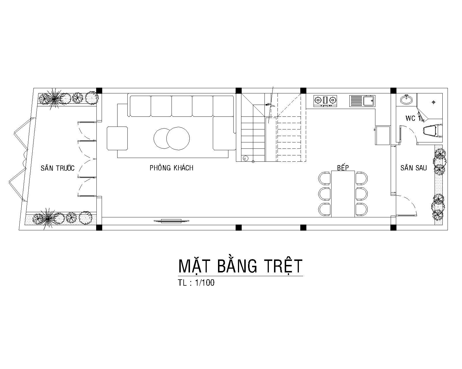 Bo Tri Mat Bang Tret Nha Pho Tan Co Dien Anh Thien 1 - mẫu nhà phố tân cổ điển đẹp