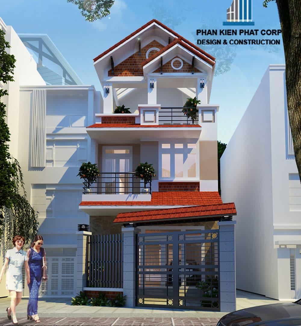 Mẫu nhà phố 3 tầng đẹp 5x23m mái chữ A của chị Kim Phượng